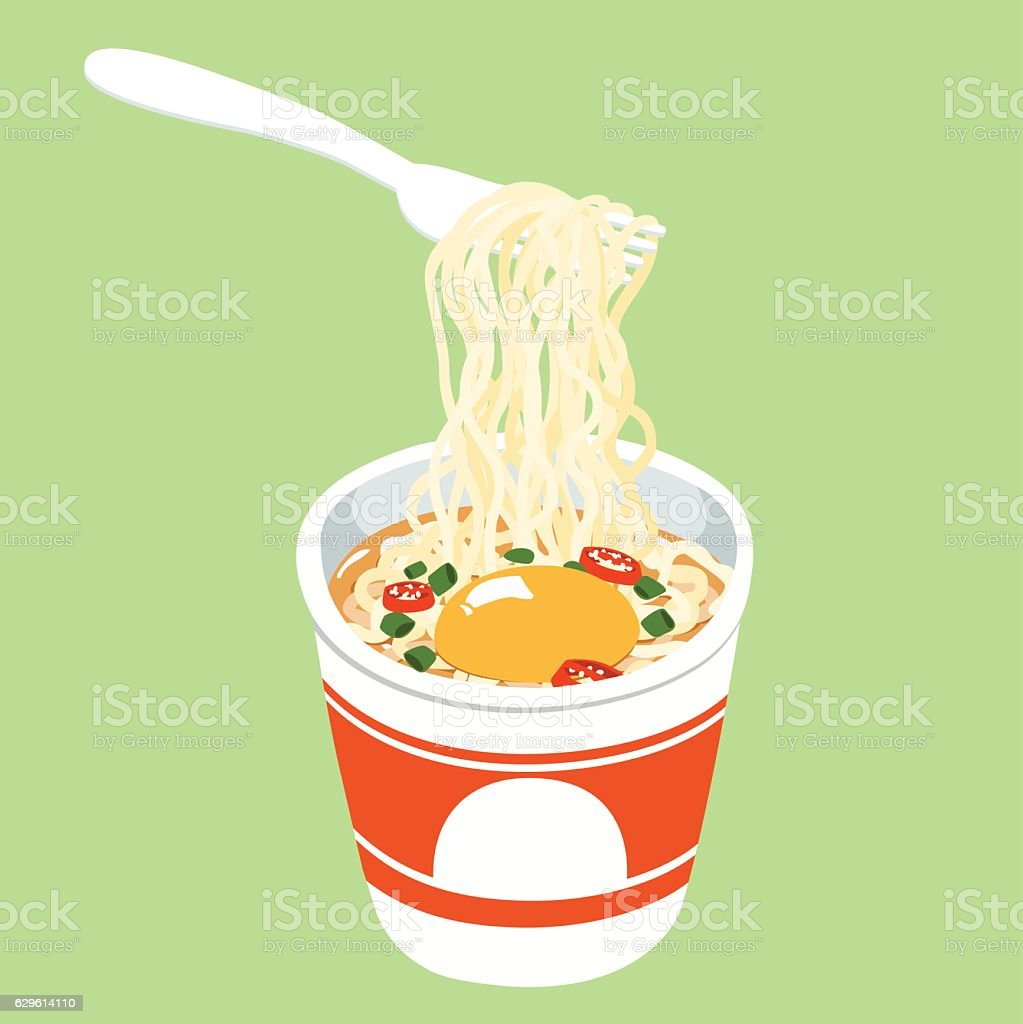 Instant noodle cup add egg vector vector art illustration
