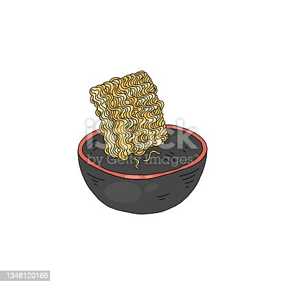 istock Instant noodles or indomie in bowl with water, vector illustration isolated. 1348120165