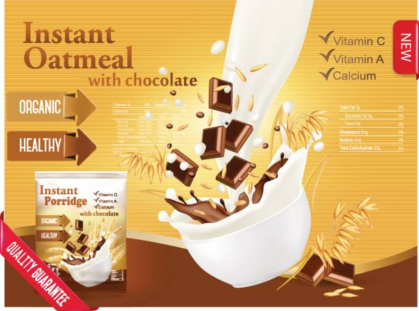 illustrazioni stock, clip art, cartoni animati e icone di tendenza di instant oatmeal with chocolate advert concept. - corn flakes
