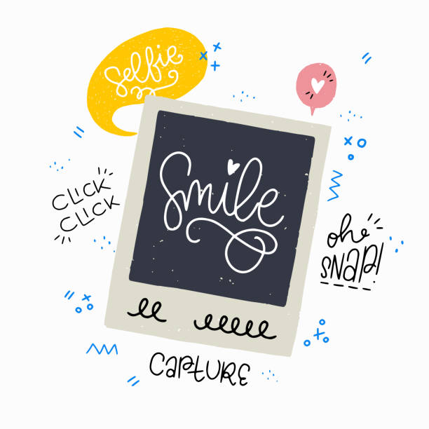 sofortbild-frame und phrasen - selfie stock-grafiken, -clipart, -cartoons und -symbole