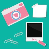 Instant photo, sticker  with  tape, paperclips, pencil and camera in flat design style. Love card. Vector illustration.