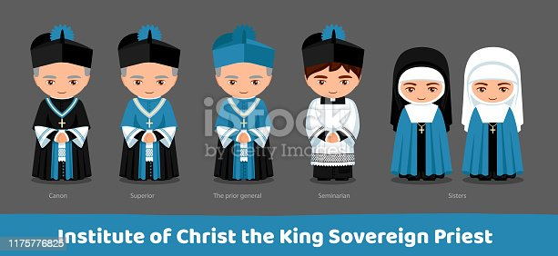 Institute of Christ the King Sovereign Priest. Canon, superior, the prior general, seminarian, sisters. Cartoon characters. Men and women. Vector flat illustration.