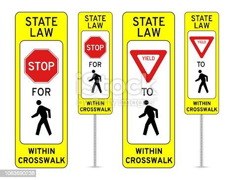 In-Street Pedestrian Crossing Road Sign - EPS 10 Vector Illustration
