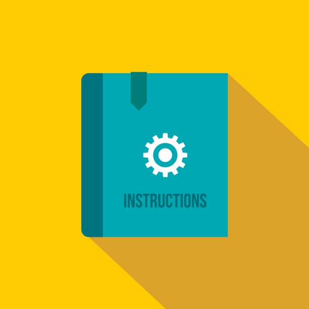 Instruction book icon, flat style Instruction book icon in flat style on a yellow background instructions stock illustrations