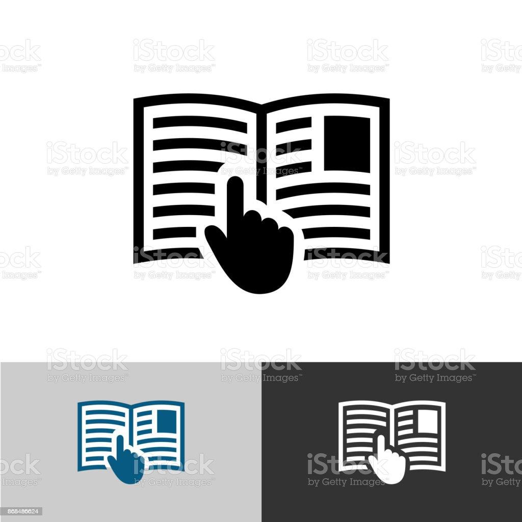 Icône de manuel d'instructions. Pages de livre ouvert avec textes, images et main symbole de curseur pointeur. - Illustration vectorielle