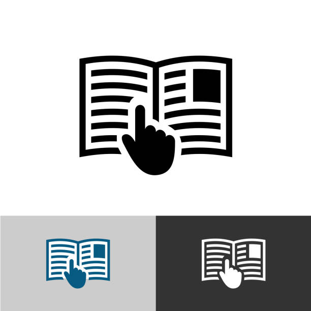 Instruction manual icon. Open book pages with text, images and hand pointer cursor symbol. Instruction manual icon. Open book pages with text, images and hand pointer cursor symbol. instructions stock illustrations