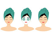 Girl with face skin problem: wrinkles and acne. Icon set for skincare infographic. Flat design vector illustration
