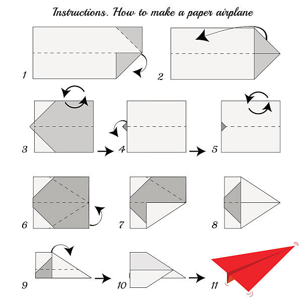 Instructions how to make origami paper airplane Instructions how to make paper Airplane. Paper plane tutorial step by step. Vector airplane. Educational game for kids. Visual game. Airplane Paper plane on isolated background instructions stock illustrations