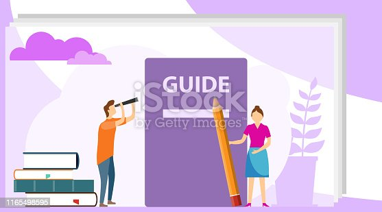 istock Instructions Manual Concept. User manual flat style vector concept. People, surrounded with some office stuff, are discussing content of guide book. User Information, Business Element. 1165498595