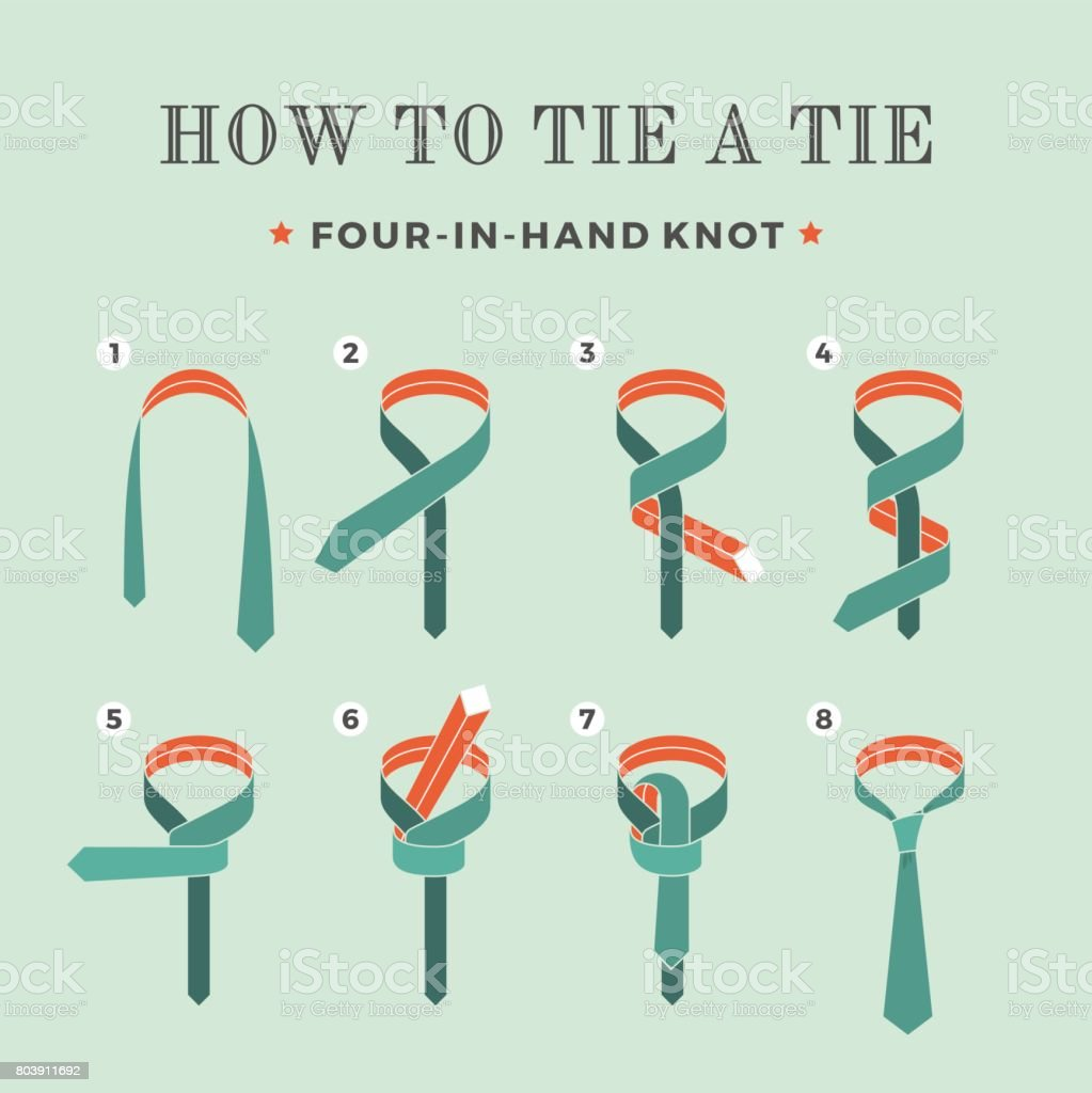 Instructions on how to tie a tie on the turquoise background of the eight steps. Four in Hand knot. Vector Illustration. vector art illustration