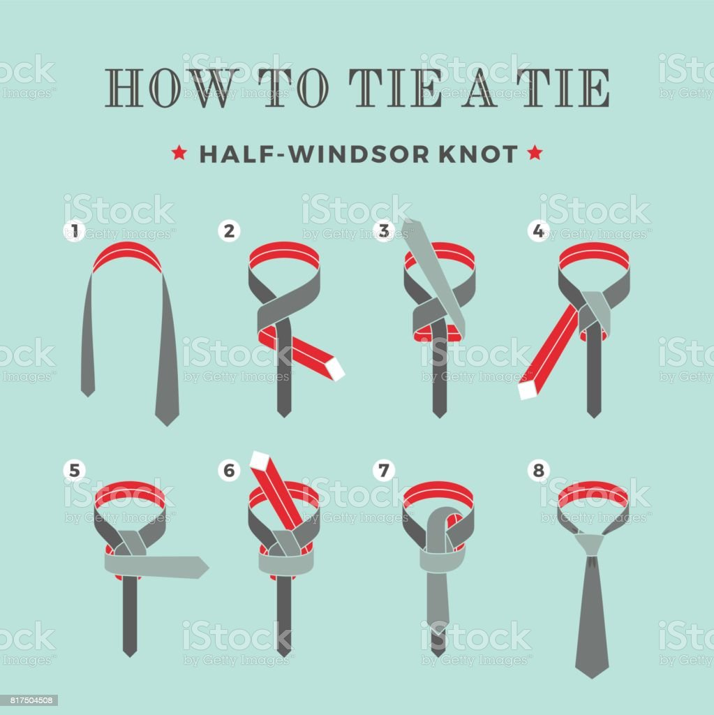 Instructions On How To Tie A Tie On The Turquoise Background Of The
