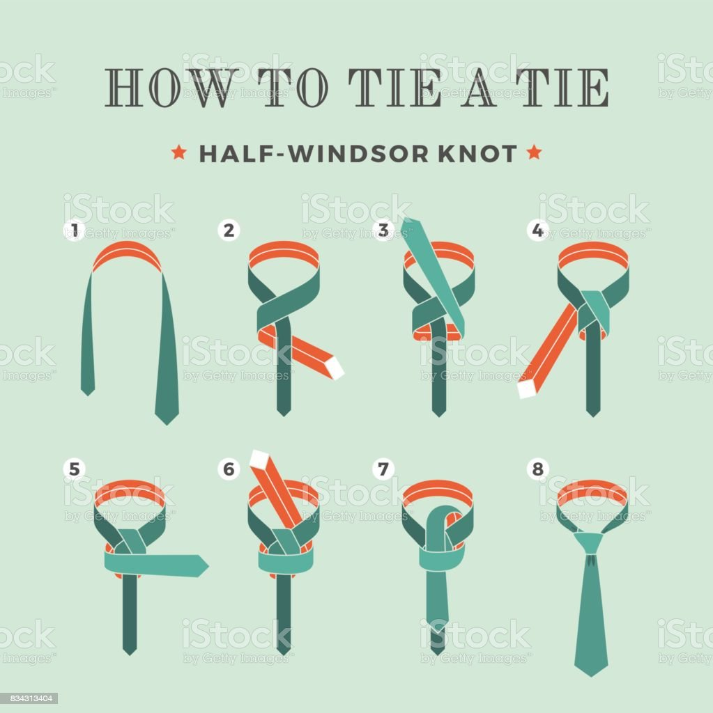 Instructions on how to tie a tie on the turquoise background of the eight steps. Half-Windsor knot . Vector Illustration. vector art illustration
