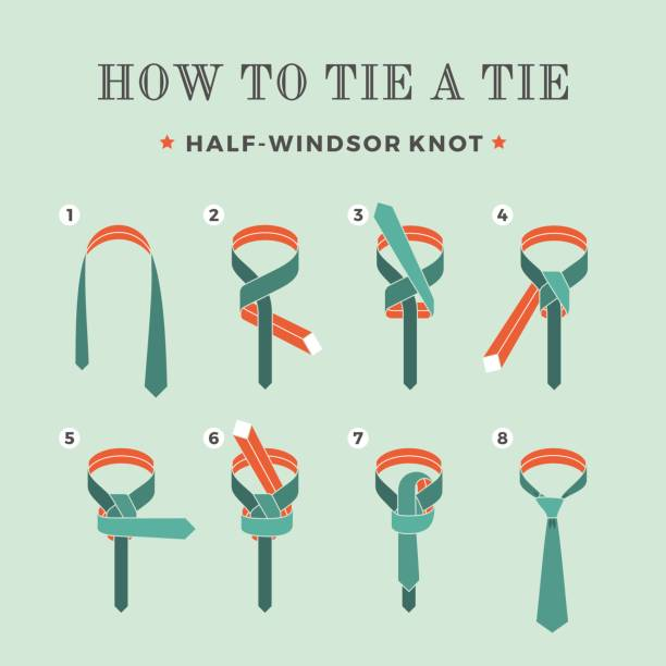 instructions on how to tie a tie on the turquoise background of the eight steps. half-windsor knot . vector illustration. - tie stock illustrations, clip art, cartoons, & icons