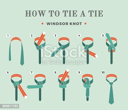 Instructions on how to tie a tie on the turquoise background of the eight steps. Windsor knot . Vector Illustration