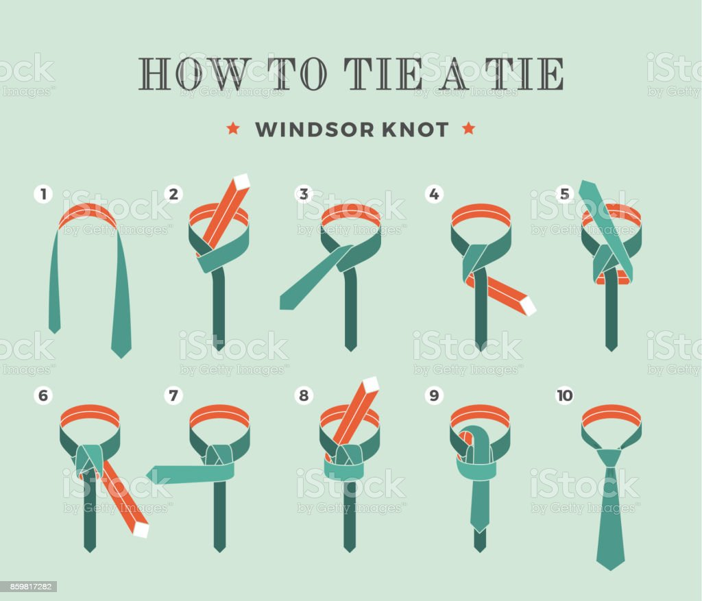 Instructions on how to tie a tie on the turquoise background of the eight steps. Windsor knot . Vector Illustration. vector art illustration