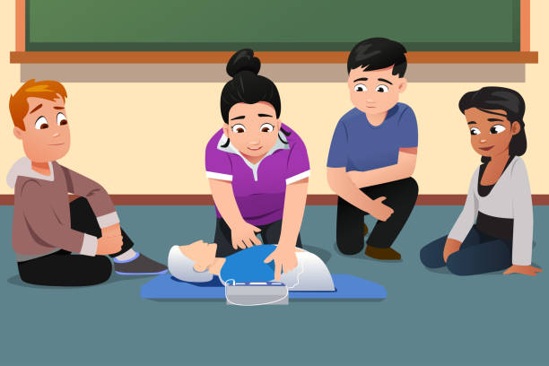 Instructor Demonstrating CPR to Students Vector Illustration vector art illustration