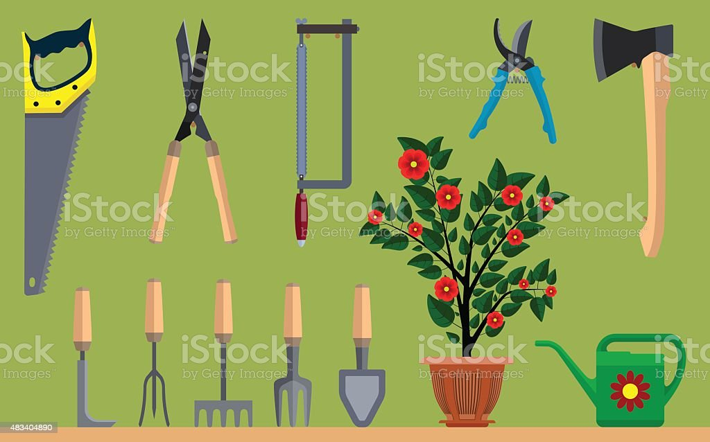 Instrument for gardening flowerpot watering can ax and saw vector art illustration