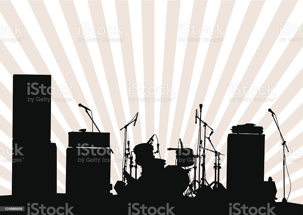 Instrument on big stage royalty-free stock vector art