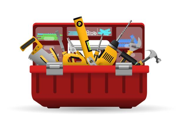 Instrument toolbox with tools kit Tool box. Vector instrument toolbox with tools kit for home repair isolated on white background gardening equipment stock illustrations