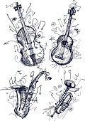 Image shows simple instruments, wihout opening shapes and gradients; big jpeg (350DPI); digital drawing with free wild style; fantasy painting; better for white backgrounds