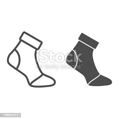 istock Insulated sock line and solid icon, World snowboard day concept, Ski wear sign on white background, Ski protection socks icon in outline style for mobile concept and web design. Vector graphics. 1288545221