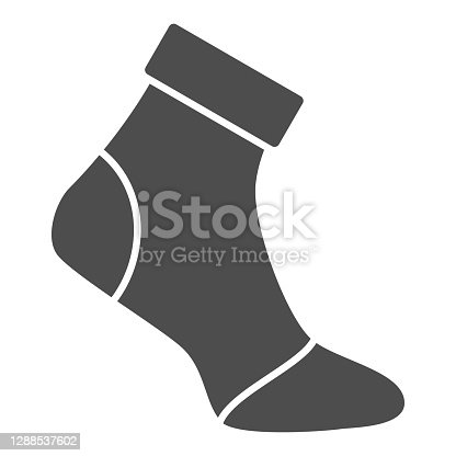 istock Insulated sock solid icon, World snowboard day concept, Ski wear sign on white background, Ski protection socks icon in glyph style for mobile concept and web design. Vector graphics. 1288537602
