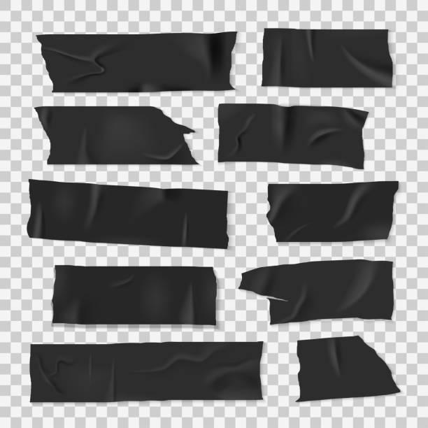 Insulating adhesive sticky black tape, realistic style set Insulating adhesive sticky black tape, realistic style set. Strip of sticky material, electrical insulation tape. Vector illustration tape stock illustrations