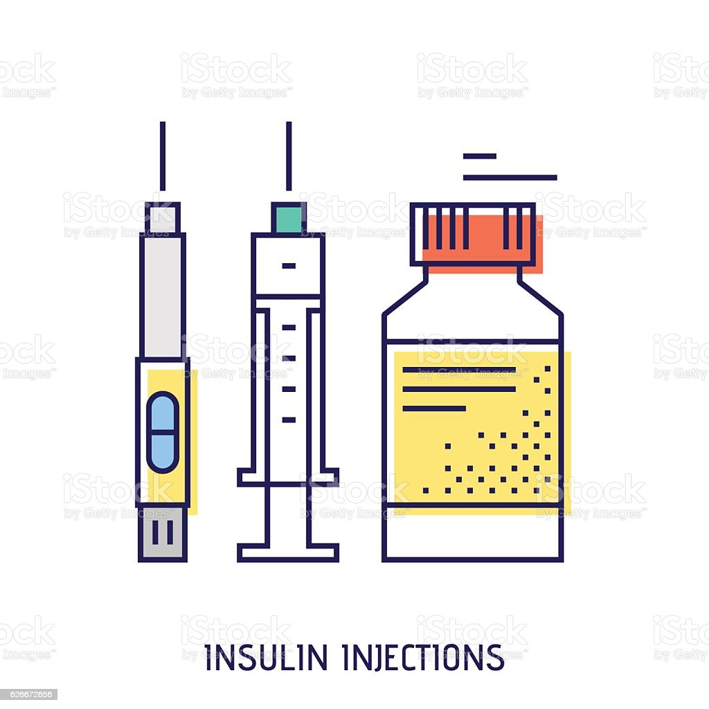 Insulin injection. Diabetes vector thin line icon. vector art illustration