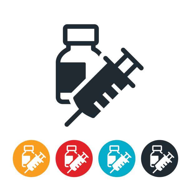 Insuline and Syringe Icon An icon of a bottle of insuline with a syringe. The icon represents the medicine and injection tool commonly used by people with diabetes. hormone stock illustrations