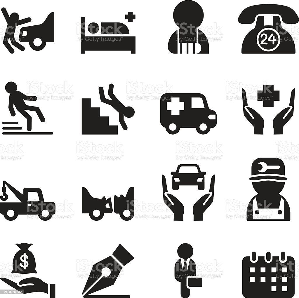 Insurance & accident  icons set vector art illustration