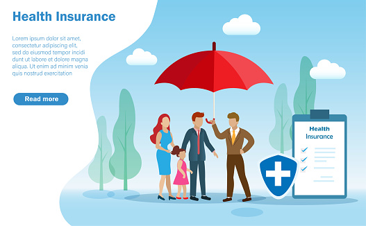 Insurance agent holding umbrella protect family, father, mother and kid with medical shield and health insurance policy.