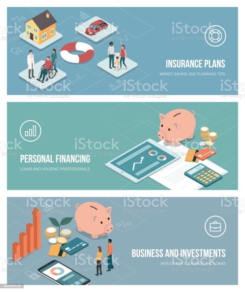 Insurance and finance vector art illustration