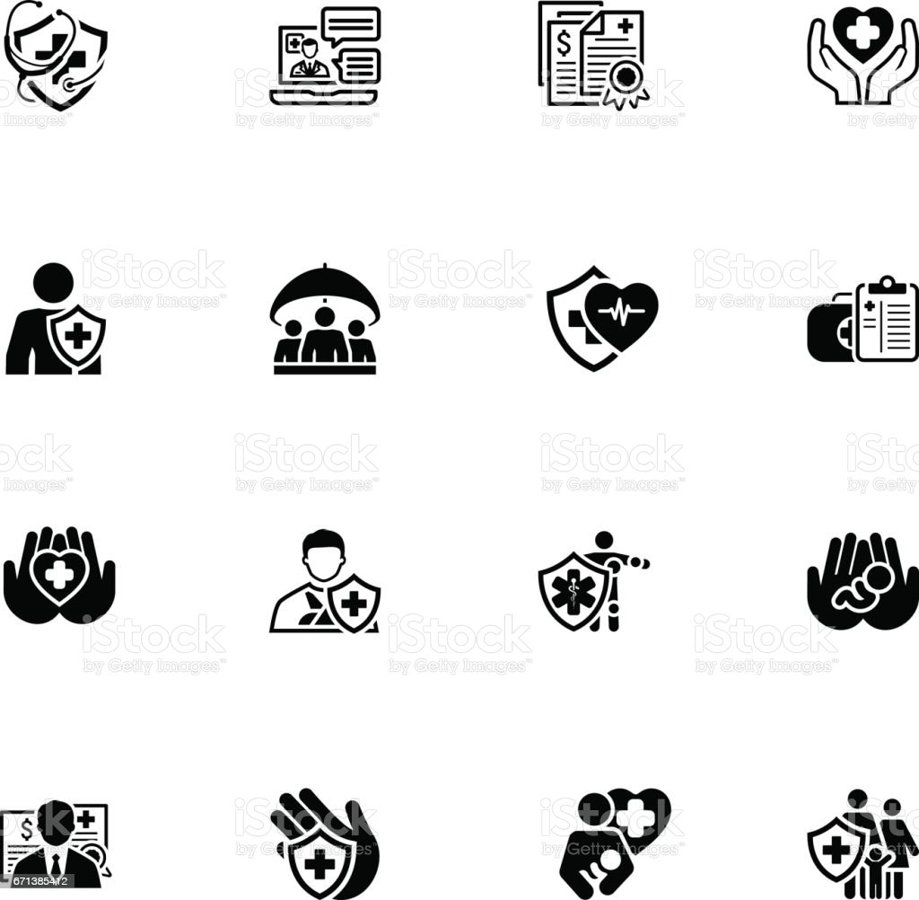 Insurance and Medical Services Icons Set vector art illustration