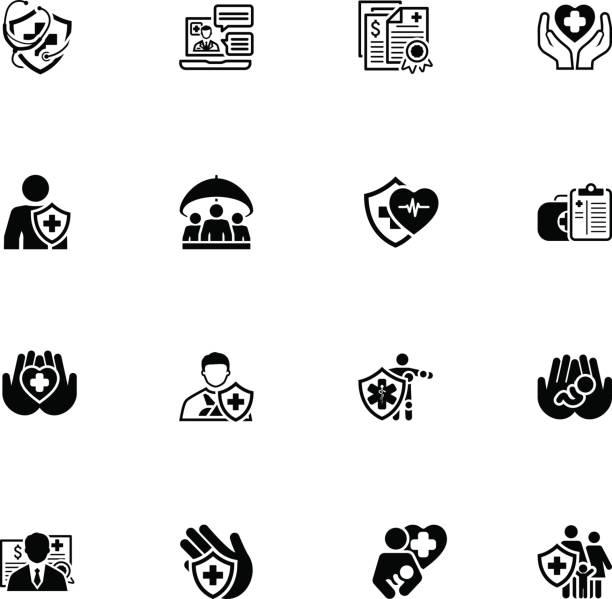 insurance and medical services icons set - проживание с уходом stock illustrations