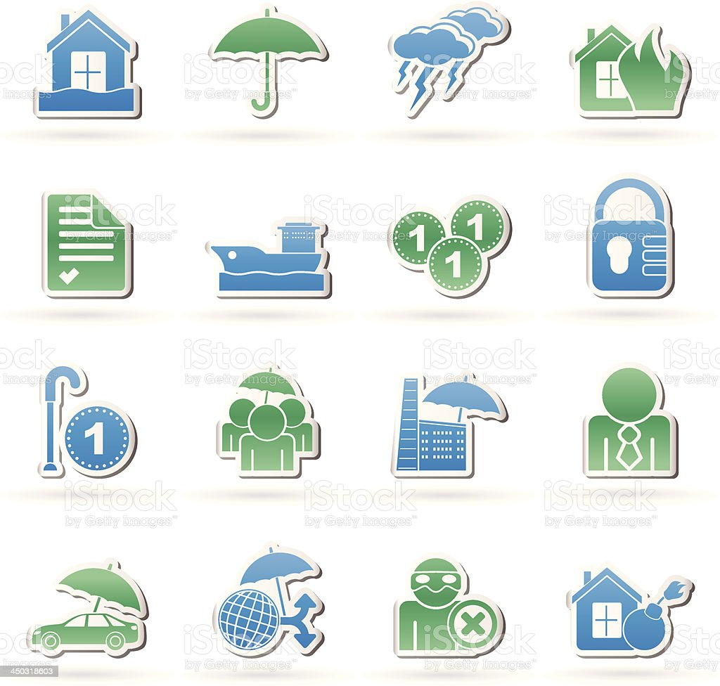 Insurance and risk icons royalty-free stock vector art