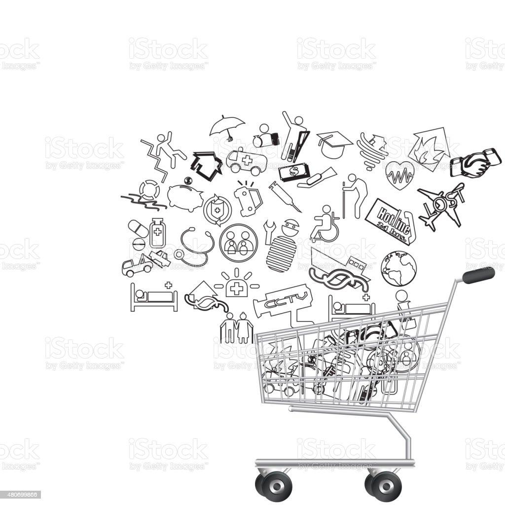insurance and shopping vector art illustration