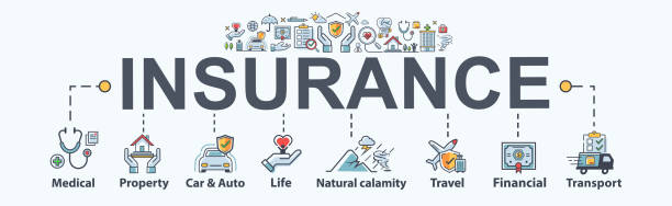 Insurance banner web icon for business Insurance, medical, property, protect, family life, Natural calamity, travel, transport and financial. Minimal vector infographic. Insurance banner web icon for business Insurance, medical, property, protect, family life, Natural calamity, travel, transport and financial. Minimal vector infographic. insurance stock illustrations