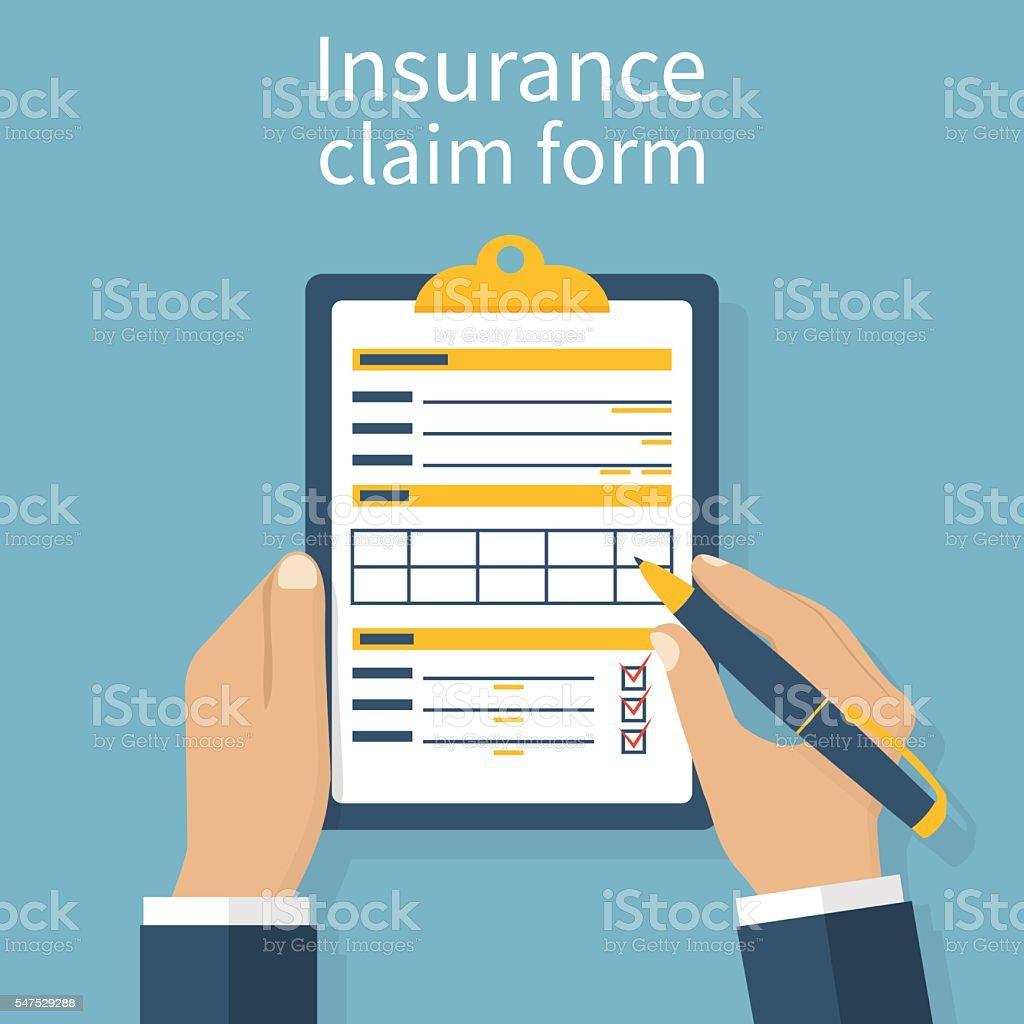 Insurance claim form vector art illustration