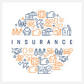 Insurance Concept - Colorful Line Icons, Arranged in Circle