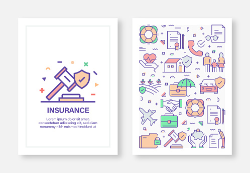Insurance Concept Line Style Cover Design for Annual Report, Flyer, Brochure.