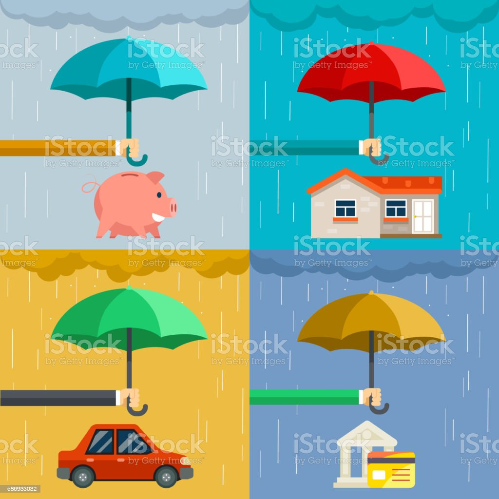Insurance concept, security of property in flat style vector art illustration