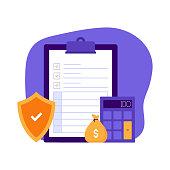 Insurance Concept Vector Illustration for Website Banner, Advertisement and Marketing Material, Online Advertising, Business Presentation etc.