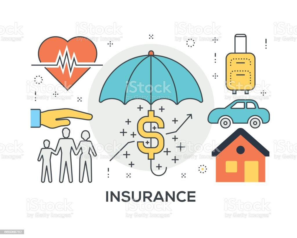 Insurance Concept with icons - Illustration vectorielle