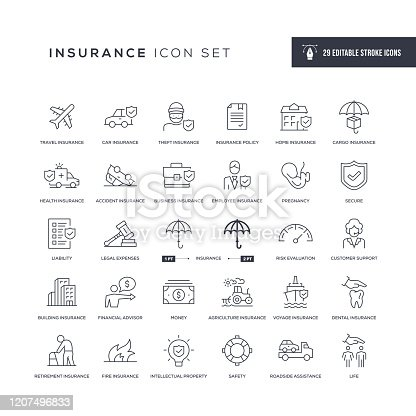 29 Insurance Icons - Editable Stroke - Easy to edit and customize - You can easily customize the stroke with