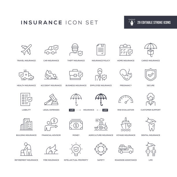 Insurance Editable Stroke Line Icons 29 Insurance Icons - Editable Stroke - Easy to edit and customize - You can easily customize the stroke with investor stock illustrations