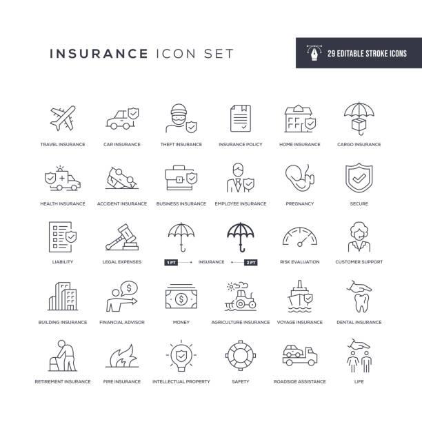 Insurance Editable Stroke Line Icons 29 Insurance Icons - Editable Stroke - Easy to edit and customize - You can easily customize the stroke with insurance stock illustrations