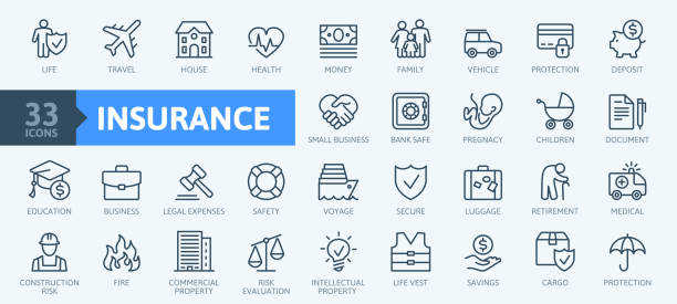 illustrazioni stock, clip art, cartoni animati e icone di tendenza di insurance elements - minimal thin line web icon set. outline icons collection. simple vector illustration. - assicurazione