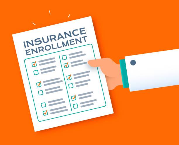 Insurance Enrollment Questionnaire Form Doctor's hand giving insurance enrollment form questionnaire checklist. application form stock illustrations