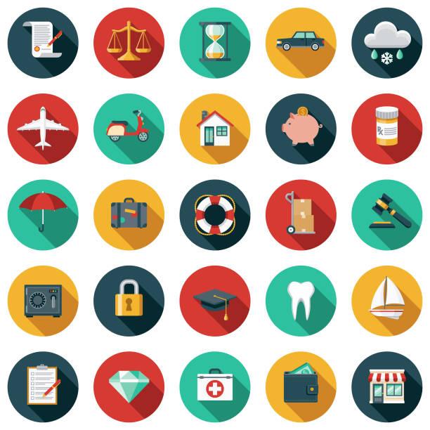 versicherung, flaches design-icon-set - flat design stock-grafiken, -clipart, -cartoons und -symbole