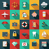 A set of flat design styled insurance icons with a long side shadow. Color swatches are global so it's easy to edit and change the colors. File is built in the CMYK color space for optimal printing.
